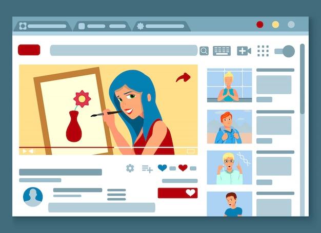 Videobloggerwebseitendesign mit malerei-meisterklassenpräsentation