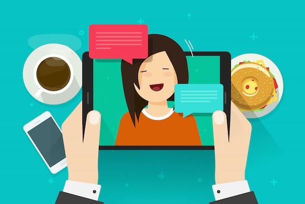 Videochat oder online-anruf mit mädchenperson auf flacher karikatur der tablettenvektor-illustration