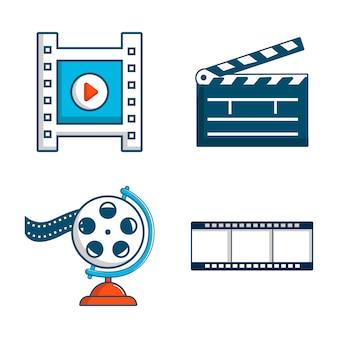 Videodatei-icon-set. karikatursatz videodateivektorikonen eingestellt lokalisiert