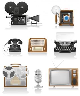 Videofototelefon der weinlese und der alten kunstausrüstung, das fernsehradio-schreibensvektorillustration notiert