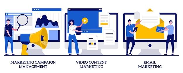 Videoinhalt und e-mail-marketingkonzept mit winziger personenillustration