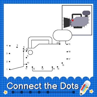 Videokamera kinder verbinden das punktarbeitsblatt für kinder, die die nummern 1 bis 20 zählen