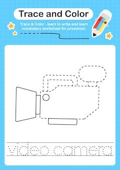 Videokamera-spur und farbvorschul-arbeitsblatt-spur für kinder zum üben der feinmotorik