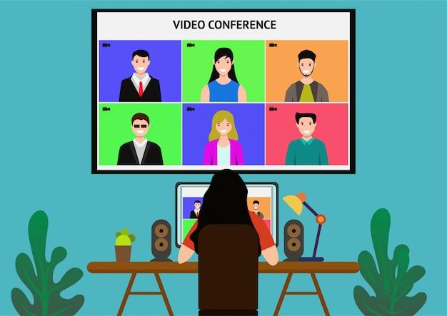Videokonferenz des flachen entwurfskonzeptabbildes. online-meeting-arbeit von zu hause aus.