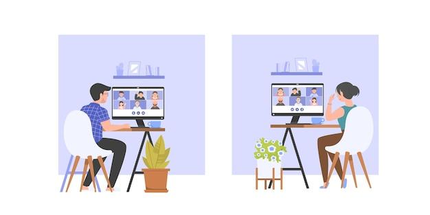Videokonferenz für männer und frauen mit freunden oder team, online-meeting, arbeit von zu hause aus. illustration