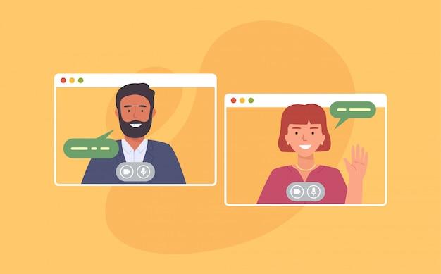Videokonferenz. kollegen, die zu hause an einer videokonferenz teilnehmen. von zu hause aus arbeiten. software für die online-kommunikation. illustration