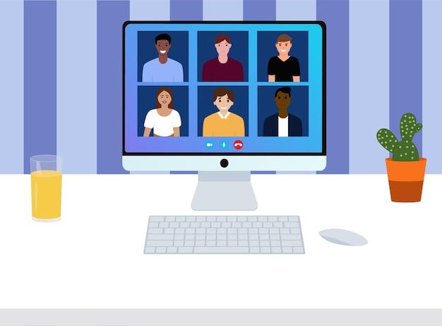 Videokonferenz mit menschen. arbeitstreffen. videoanruf zur konferenz. arbeitsplatz