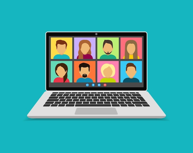 Videokonferenz mit personengruppe auf laptop-bildschirm. kollegen sprechen auf dem computerbildschirm miteinander. konferenzvideoanruf, von zu hause aus arbeiten. online-konferenz. familienfernkommunikation.