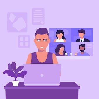 Videokonferenz, online-meeting, gruppen-videoanruf, mädchen mit kurzem haarschnitt am laptop, vektorillustration