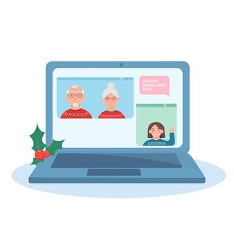 Videokonferenz von großeltern und enkelin zu weihnachten online-gespräche und glückwünsche