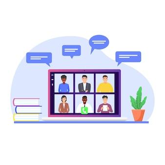 Videokonferenz von kollegen auf dem laptop-bildschirm. remote-arbeit, kommunikation über das internet, video-chat. flache vektor-cartoon-illustration.