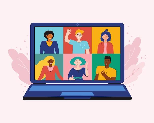 Videokonferenz von zu hause aus, um sich zu treffen und online zu arbeiten. videoanruf auf dem laptop. bleib zuhause