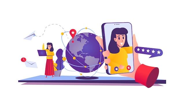 Videokonferenz-webkonzept im cartoon-stil