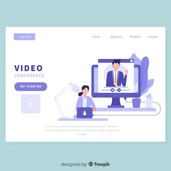 Videokonferenz-zielseitenvorlage