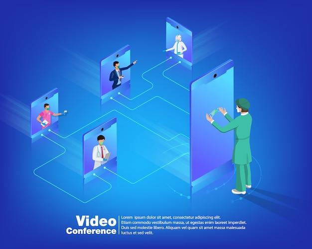 Videokonferenz zum konzept des isometrischen gesundheitsdesigns.