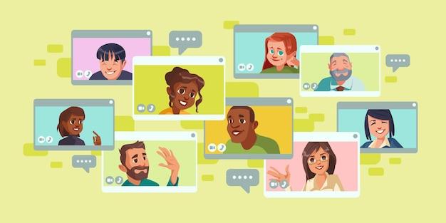 Videokonferenzbildschirm mit einer gruppe von personen