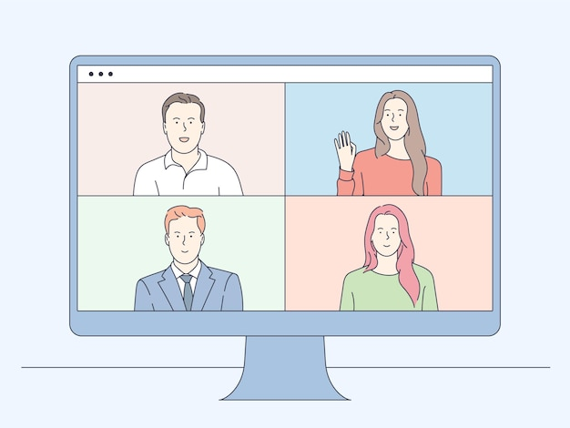 Videokonferenzen und online-kommunikation. gruppe von personen-geschäftspartnern, die entfernte online-besprechungskonferenz auf laptop haben.