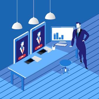 Videokonferenzkonzept-vektorillustration in der flachen art