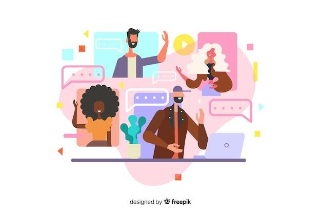 Videokonferenzkonzeptillustration für zielseite