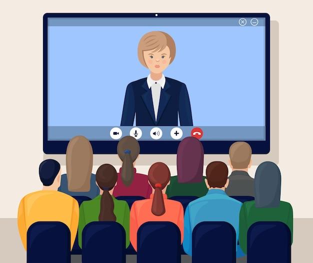 Videokonferenztreffen mit ceo, chef. beratung, schulung, präsentationskonzept