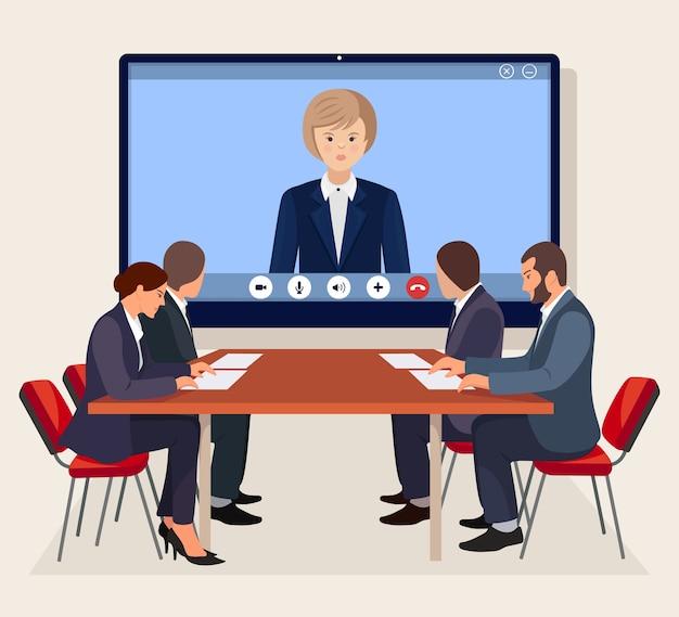 Videokonferenztreffen mit ceo, chef im sitzungssaal. beratung, schulung, präsentationskonzept