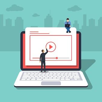 Videokonzeptillustration von jungen leuten. laptop oder notebook.