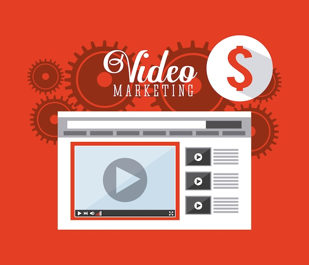 Videomarketing-design, grafik der vektorillustration eps10