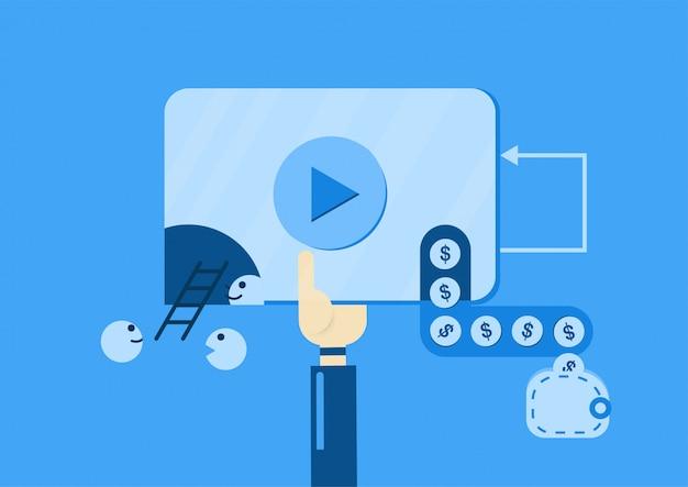 Videomarketing zum geldverdienen aus video auf der website