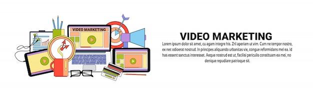 Videomarketingstrategie-konzept-horizontale fahnenschablone