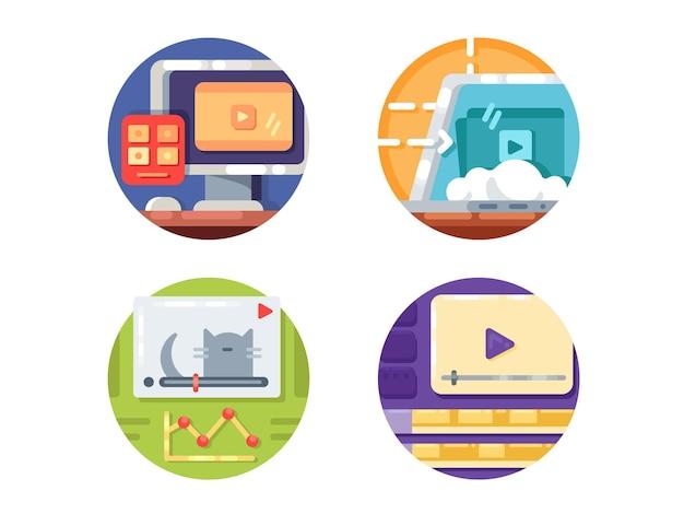 Videomedien-symbole. erstellen sie videos und laden sie sie ins internet herunter. vektorillustration. pixel perfekte symbole größe 128 px