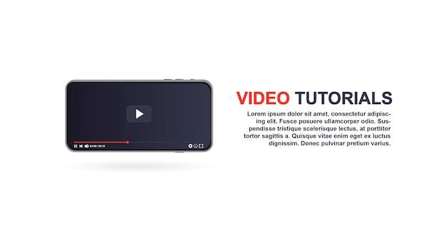 Videoplayer-designvorlage für web- und mobile apps im flachen stil vektor-illustration