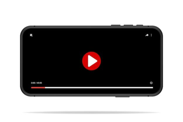 Videoplayer-vorlage für mobilgeräte, schwarzer bildschirm mit roter runder schaltfläche und zeitleiste. röhrenfenster online. smartphone-videoplayer-modell. vektor-illustration im 3d-stil.