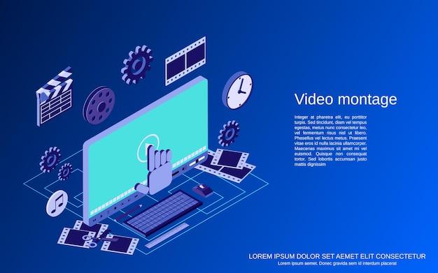 Videoproduktion, bearbeitung, montage flache isometrische 3d-vektorkonzeptillustration concept Premium Vektoren