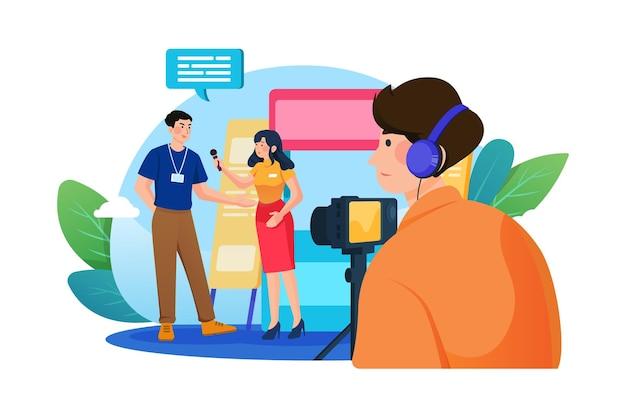 Videoproduktion über event auf der bühne mit einer professionellen videokamera im freien