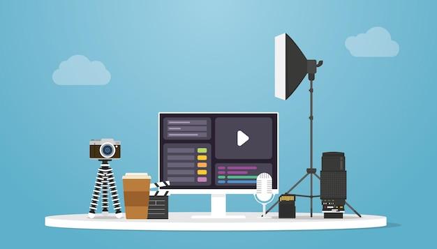 Videoproduktionskonzept mit kamera- und werkzeugprodukt mit moderner flacher vektorillustration