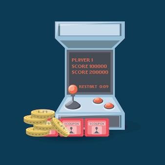Videospiel-arcade-maschine mit münzen und coupon
