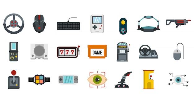 Videospiel-icon-set. flacher satz der videospielvektor-ikonensammlung lokalisiert