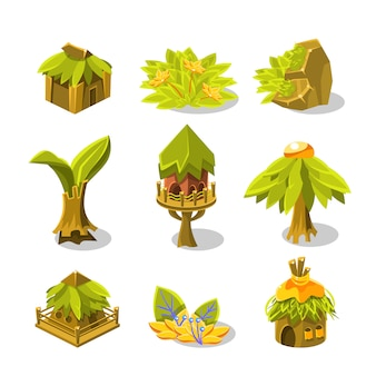Videospiel indian village design sammlung von elementen