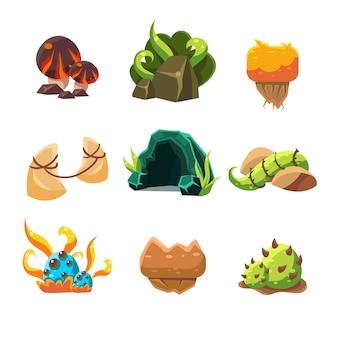 Videospiel-level-design-sammlung von elementen
