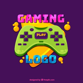 Videospiel-logo-vorlage mit joystick