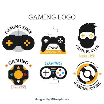 Videospiel-logosammlung mit flachem design