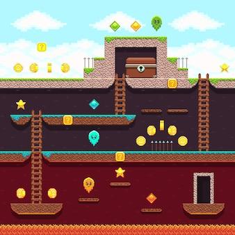 Videospiel mit 8-bit-pixeln für den computer