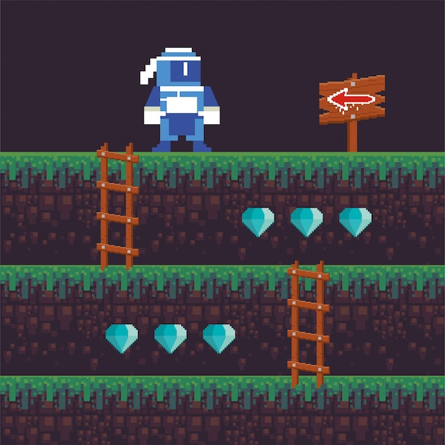 Videospiel-ninja-krieger in pixeliger szene