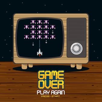Videospiel-pixeliertes konzept