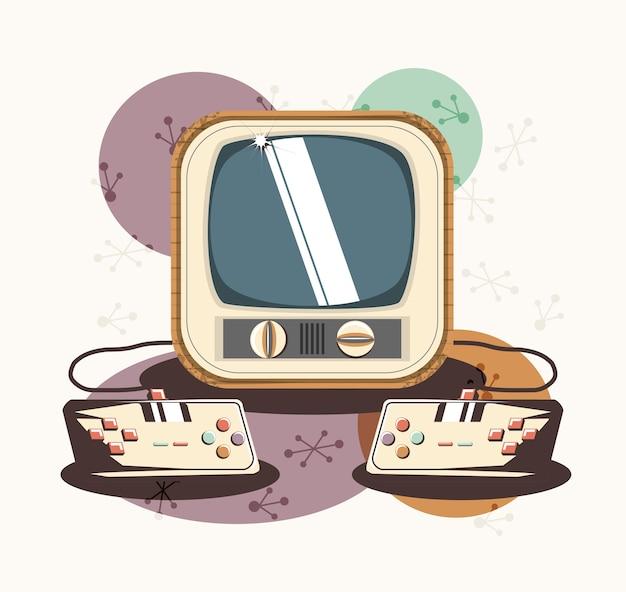Videospiel retro- mit fernsehvektor-illustrationsdesign