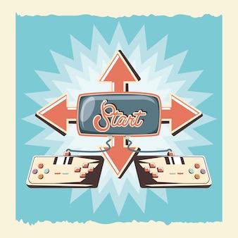 Videospiel retro mit kontrollenvektorillustrationsdesign
