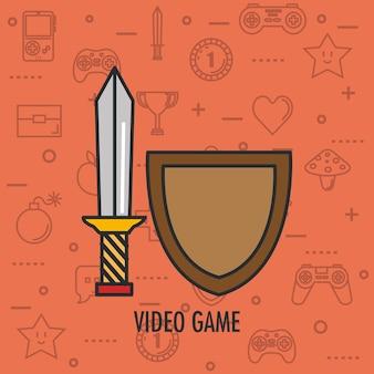 Videospiel schild und schwert waffe app