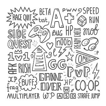 Videospiel-slang-beschriftungsplakatschablone