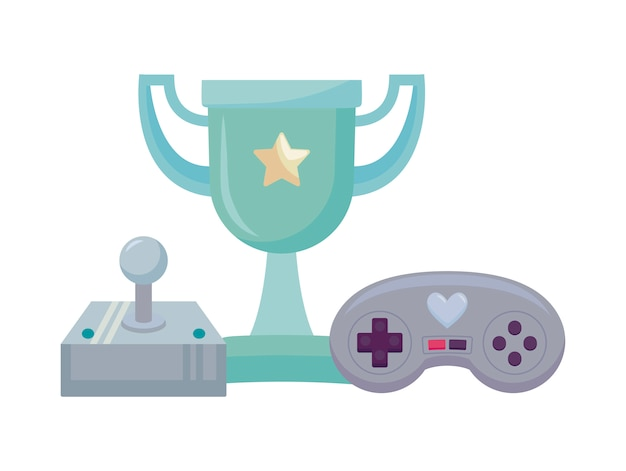 Videospiel-steuerelemente und trophäe pixelate-symbol