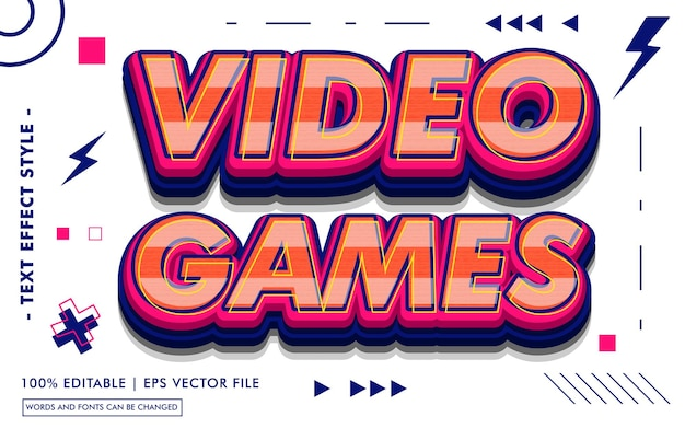 Videospiel-texteffektvorlage